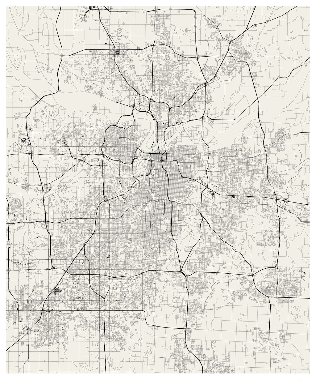 Kansas City Streets Visualized Jim Vallandingham - Kansas city map